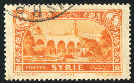 SYRIA - CIRCA 1930: stamp printed by Syria, shows Square at Damascus, circa 1930 photo