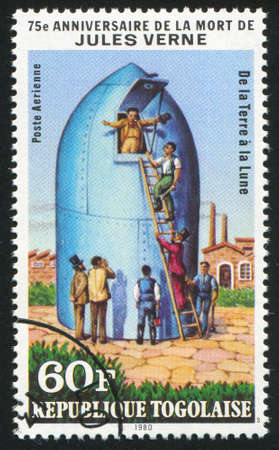 TOGO - CIRCA 1980: stamp printed by Togo, shows From Earth to Moon, by Jules Verne, circa 1980