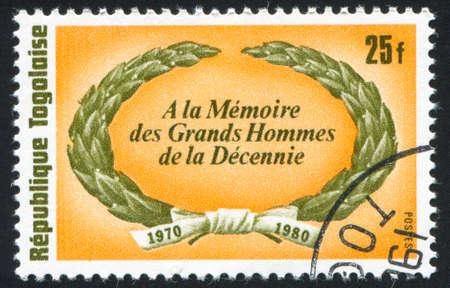 commemorative: TOGO - CIRCA 1980: stamp printed by Togo, shows Commemorative Wreath, circa 1980