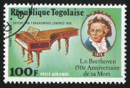 TOGO - CIRCA 1977: stamp printed by Togo, shows Beethoven piano and portrait, circa 1977 Stock Photo - 12354681