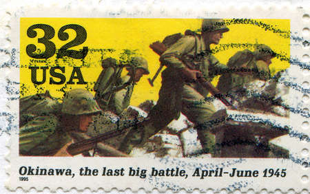 UNITED STATES - CIRCA 1995: stamp printed by United States, shows Soldiers advancing (Okinawa), circa 1995