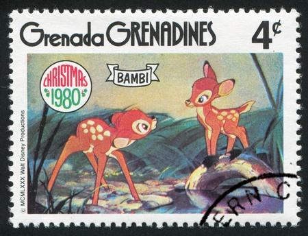 GRENADA - CIRCA 1980: stamp printed by Grenada, shows Walt Disney characters, Bambi, circa 1980