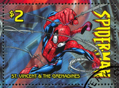 spiderman: ST. VINCENT GRENADINES - CIRCA 2003: stamp printed by St. Vincent Grenadines, shows Spiderman, circa 2003.