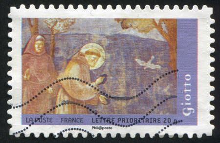 homily: FRANCE - CIRCA 2008: stamp printed by France, shows picture of Giotto Pretching to Birds, circa 2008