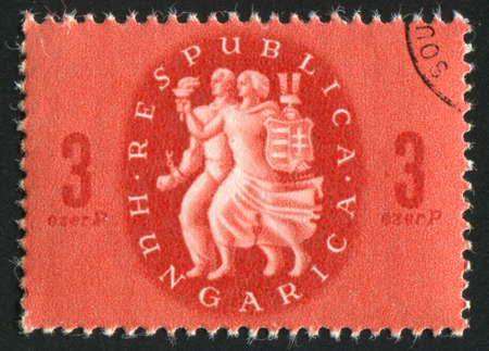 HUNGARY - CIRCA 1946: stamp printed by Hungary, shows Liberation, circa 1946 Stock Photo