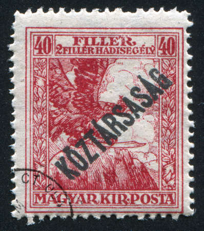overprint: HUNGARY - CIRCA 1918: stamp printed by Hungary, shows Turul with Republic overprint, circa 1918