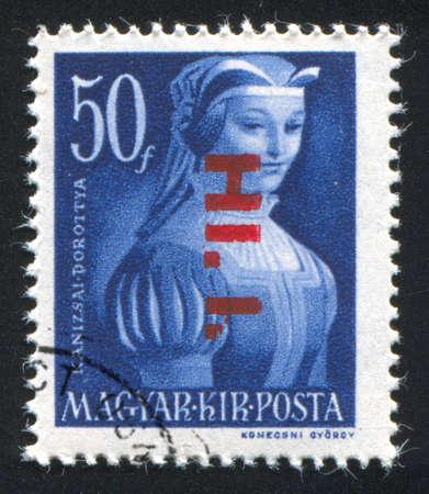 HUNGARY - CIRCA 1944 stamp printed by Hungary, shows Portrait of  Dorothy Kanuizsai, circa 1944