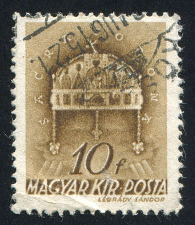 HUNGARY - CIRCA 1938: stamp printed by Hungary, shows Crown of St. Stephen, circa 1938 photo