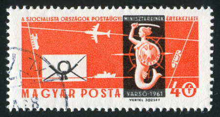 undine: HUNGARY - CIRCA 1961: stamp printed by Hungary, shows Warsaw Mermaid, Letter and Sea, Air and Land Transport,  circa 1961