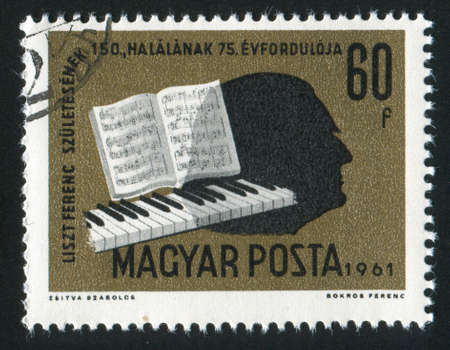 liszt: HUNGARY   CIRCA 1961 stamp printed by Hungary, shows keyboard, music, Liszt silhouette, circa 1961