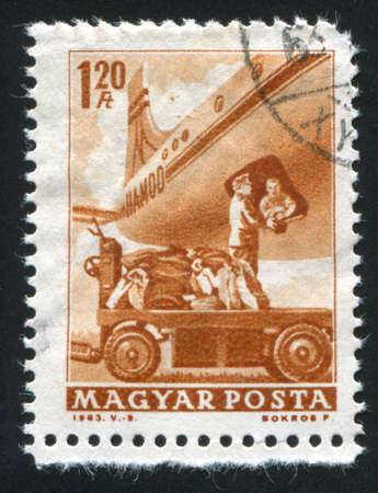 HUNGARY CIRCA 1963: stamp printed by Hungary, shows mail plane,  circa 1963