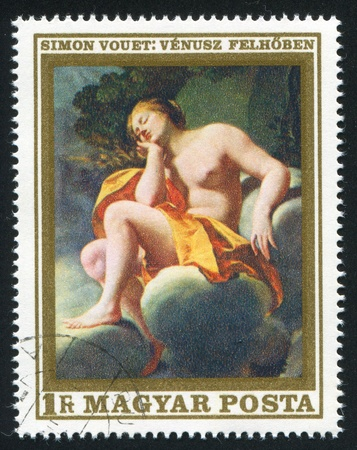 female likeness: HUNGARY  CIRCA 1969: stamp printed by Hungary, shows Venus in the Clouds,  by Simon Vouet,  circa 1969