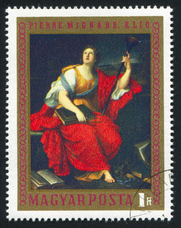 female likeness: HUNGARY  CIRCA 1970: stamp printed by Hungary, shows Clio, by Pierre Mignard,  circa 1970 Stock Photo
