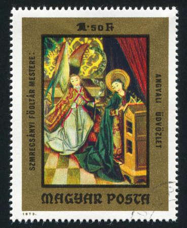 HUNGARY   CIRCA 1973: stamp printed by Hungary, shows Angels playing organ and harp,  circa 1973 Stock Photo - 12578526
