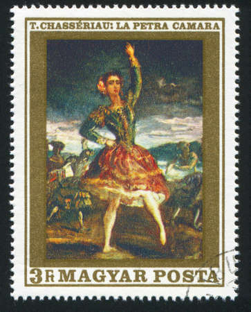 HUNGARY  CIRCA 1969: stamp printed by Hungary, shows La Petra Camara, Dancer, by Theodore Chaseriau, circa 1969