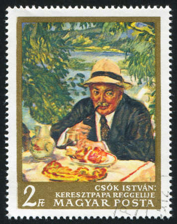 the godfather: HUNGARY  CIRCA 1967: stamp printed by Hungary, shows Godfather Breakfast, by Istvan Csok, circa 1967
