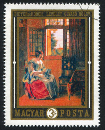HUNGARY CIRCA 1969: stamp printed by Hungary, shows woman reading letter,  by Pieter de Hooch, circa 1969