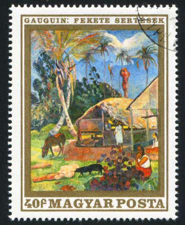 paul: HUNGARY  CIRCA 1969: stamp printed by Hungary, shows black pigs,  by Paul Gauguin, circa 1969 Stock Photo