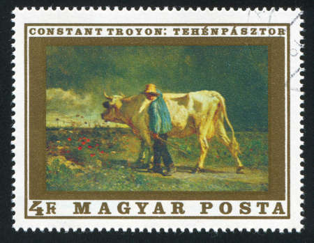 HUNGARY   CIRCA 1969: stamp printed by Hungary, shows The Cowherd, by Constant Troyon, circa 1969 Stock Photo - 12574866