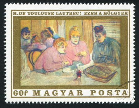 HUNGARY   CIRCA 1969: stamp printed by Hungary, shows These Women, by  Toulouse-Lautrec, circa 1969 Stock Photo - 12572143