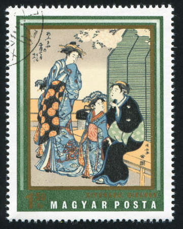HUNGARY  CIRCA 1971: stamp printed by Hungary, shows Courtesans, by Kiyonaga,  circa 1965