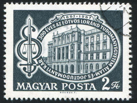 HUNGARY - CIRCA 1967: stamp printed by Hungary, shows Eotvos University, and symbols of  law and justice, circa 1967 Stock Photo - 12572148