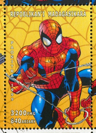 MADAGASCAR - CIRCA 1999: stamp printed by Madagascar, shows Spider-man, circa 1999 Stock Photo - 12489004