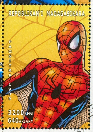 spiderman: MADAGASCAR - CIRCA 1999: stamp printed by Madagascar, shows Spider-man, circa 1999