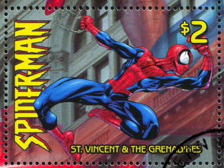 spiderman: ST. VINCENT GRENADINES - CIRCA 2003: stamp printed by St. Vincent Grenadines, shows Spiderman, circa 2003.