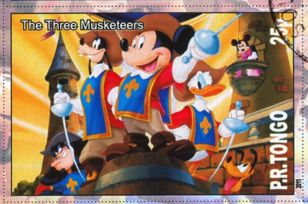 TONGO - CIRCA 2011: stamp printed by Tongo, shows Walt Disney cartoon character, The three musketeers, circa 2011 Stock Photo - 12489238