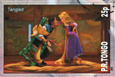 TONGO - CIRCA 2011: stamp printed by Tongo, shows Walt Disney cartoon character, Tangled, circa 2011
