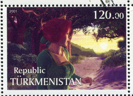 TURKMENISTAN - CIRCA 2001: stamp printed by Turkmenistan, shows Princess Fiona, Shriek, circa 2001