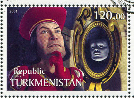 TURKMENISTAN - CIRCA 2001: stamp printed by Turkmenistan, shows Lord Farquaad, Shriek, circa 2001