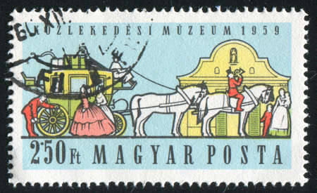horse pipes: HUNGARY - CIRCA 1959: stamp printed by Hungary, shows stagecoach, circa 1959