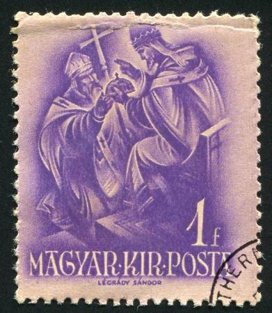 archbishop: HUNGARY - CIRCA 1937: stamp printed by Hungary, shows pope Sylvester II, Archbishop Astrik, circa 1937