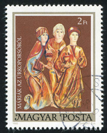 HUNGARY - CIRCA 1980: stamp printed by Hungary, shows Three Marys, circa 1980