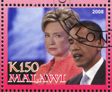 MALAWI - CIRCA 2008: stamp printed by Malawi, shows Barack Obama, circa 2008