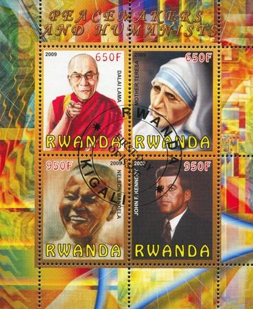 the lama: RWANDA - CIRCA 2009: stamp printed by Rwanda, shows famous people, circa 2009