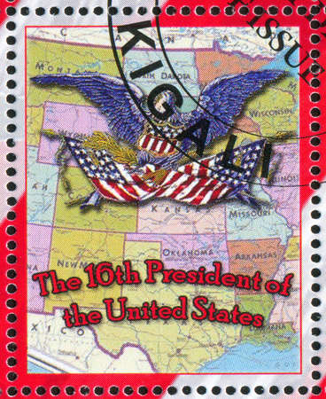 RWANDA - CIRCA 2009: stamp printed by Rwanda, shows USA map, circa 2009 photo