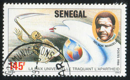 SENEGAL - CIRCA 1986: stamp printed by Senegal, shows Mandela, dove, death, circa 1986