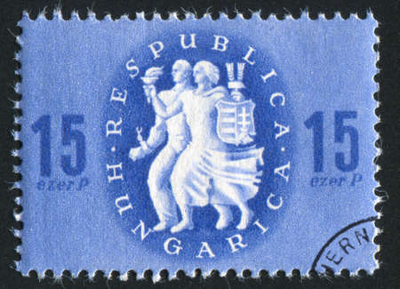 liberation: HUNGARY - CIRCA 1946: stamp printed by Hungary, shows Liberation, circa 1946 Stock Photo