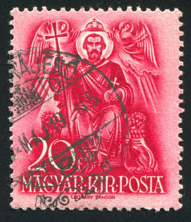 enthroned: HUNGARY - CIRCA 1937: stamp printed by Hungary, shows Saint Stephen enthroned, circa 1937