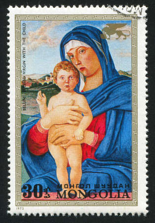 bellini: MONGOLIA - CIRCA 1972: stamp printed by Mongolia, shows Virgin and Child, by Bellini, circa 1972 Stock Photo