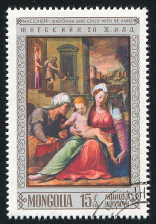 MONGOLIA - CIRCA 1972: stamp printed by Mongolia, shows Madonna and Child with Saint Anne,  by Macchietti, circa 1972
