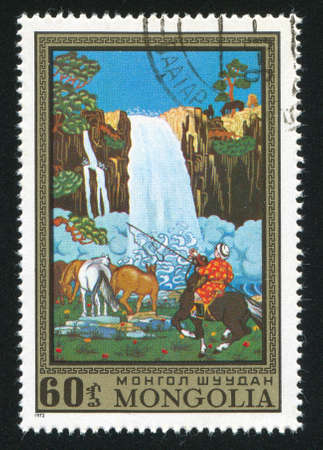 MONGOLIA - CIRCA 1972: stamp printed by Mongolia, shows Waterfall and horses, circa 1972 Stock Photo - 12594249