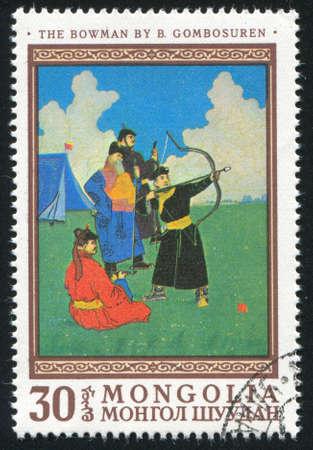 bowman: MONGOLIA - CIRCA 1968: timbro stampato dalla Mongolia, mostra prodiere, da B. Gombosuren, circa 1968