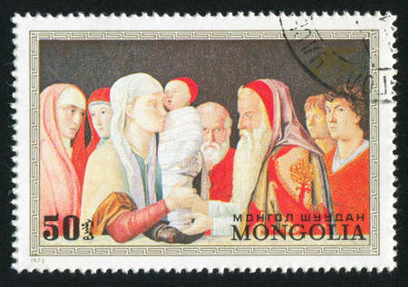 bellini: MONGOLIA - CIRCA 1972: stamp printed by Mongolia, shows presentation in the temple, by Bellini, circa 1972