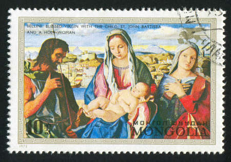 MONGOLIA - CIRCA 1972: stamp printed by Mongolia, shows virgin and child with St. John, by Bellini, circa 1972