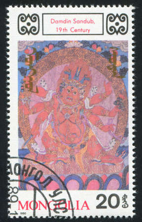 deities: MONGOLIA - CIRCA 1990: stamp printed by Mongolia, shows Buddhist Deities, by Damdin Sandub, circa 1990