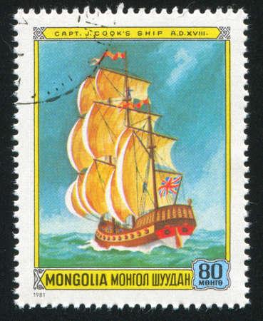 ketch: MONGOLIA - CIRCA 1981: stamp printed by Mongolia, shows  frog, circa 1981
